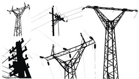 напряжение тока полюса электричества высокое Стоковое Изображение RF