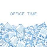 Напряжённый в офисе с слишком много стога бумаг иллюстрация штока