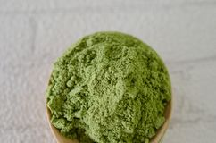 Напудренный чай matcha зеленый Стоковая Фотография