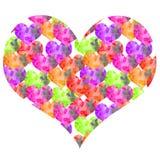 Нарисованная вручную акварель текстурное Валентайн много небольших сердец в большой бесплатная иллюстрация