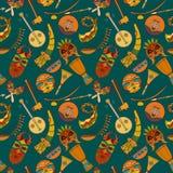 Нарисованная вручную безшовная африканская картина музыки иллюстрация штока
