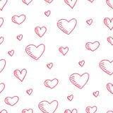 Нарисованная вручную безшовная картина с сердцами Стоковые Изображения RF