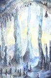 Нарисованная вручную иллюстрация пещеры в голубых цветах Стоковое Фото