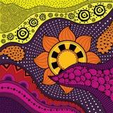 Нарисованная вручную картина ethno, племенная предпосылка Его можно использовать для обоев, интернет-страницы, сумок Стоковое Изображение