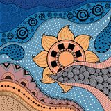 Нарисованная вручную картина ethno, племенная предпосылка Его можно использовать для обоев, интернет-страницы, сумок, печати и др Стоковые Фотографии RF