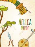 Нарисованная вручную карточка музыки Африки иллюстрация штока