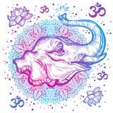 Нарисованная вручную красивая голова слона с индийской мандалой, круглой картиной орнамента Hagh-детальная иллюстрация вектора бесплатная иллюстрация