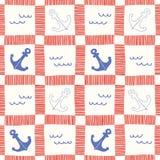 Нарисованная вручную морская шотландка с картиной вектора анкеров и волн безшовной Морская предпосылка иллюстрация штока