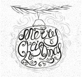 Нарисованная вручную открытка с словами с Рождеством Христовым Стоковые Фото