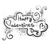 Нарисованная вручную поздравительная открытка, день ` s валентинки знамени счастливый Надпись в облаке, стиль Doodle бесплатная иллюстрация