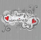 Нарисованная вручную поздравительная открытка, день ` s валентинки знамени счастливый Надпись в облаке, стиль Doodle striped пред иллюстрация штока