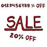 Нарисованная вручную продажа с всеми процентами скидки Стоковое Фото
