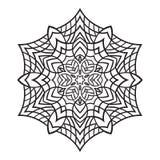 Нарисованная вручную снежинка doodles Стиль мандалы Zentangle Стоковые Фото