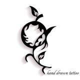Нарисованная вручную татуировка с тенью Стоковое Фото