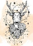 Нарисованная вручную ультрамодная иллюстрация вектора с оленями и пионом цветет над звездами Татуировка ART Картина Изолированное иллюстрация штока