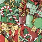 Нарисованная вручную яркая картина Нового Года и рождества иллюстрация вектора
