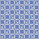 Нарисованная вручную Monochrome морская шотландка с картиной вектора анкеров и волн безшовной Голубая морская предпосылка бесплатная иллюстрация