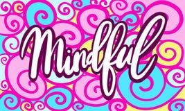 Нарисованная иллюстрация руки помечающ буквами слово заботливое на абстрактном спиральном фоне doodle Стоковая Фотография RF
