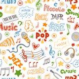 Нарисованная картина вектора безшовная руки doodles на теме музыки Стоковые Фото
