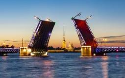 Нарисованная крепость ночью лета, Санкт-Петербург моста и Питер и Пол дворца, Россия стоковые изображения