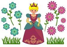 нарисованная предпосылкой белизна princess иллюстрации руки установленная Стоковая Фотография