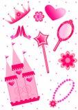 нарисованная предпосылкой белизна princess иллюстрации руки установленная Стоковое Изображение