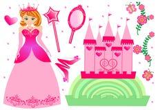 нарисованная предпосылкой белизна princess иллюстрации руки установленная Стоковые Изображения RF