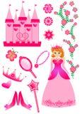 нарисованная предпосылкой белизна princess иллюстрации руки установленная Стоковые Изображения