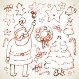 нарисованная рождеством рука элементов Стоковые Фотографии RF
