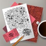 Нарисованная рука вектора шаржа милая красочная doodles комплект фирменного стиля влюбленности Стоковое Изображение RF
