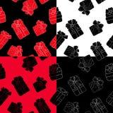 Нарисованная рука делает по образцу комплекты с подарками плана с смычками в стиле шаржа Doodle тонкая линия текстура подарочной  Стоковая Фотография RF