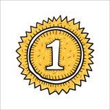 Нарисованная рука значка победителя золота вектора Стоковое фото RF