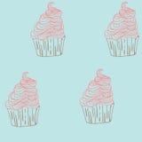 Нарисованная рука картины вектора doodle помадок пирожных безшовная Стоковое Фото