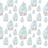 Нарисованная рука картины вектора doodle помадок пирожных безшовная Стоковые Фото