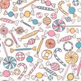 Нарисованная рука картины конфет безшовная иллюстрация вектора