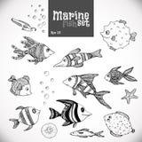 Нарисованная рука морских рыб установленная Стоковые Изображения RF
