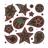 Нарисованная рука покрасила свирли звезды и декоративные элементы Стоковые Изображения RF