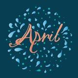Нарисованная рука помечающ буквами апрель иллюстрация штока