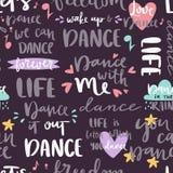 Нарисованная рука помечающ буквами картину фразы безшовные и цитату каллиграфии для фраз мотивировки предпосылки танцевальной муз Стоковая Фотография RF