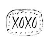 Нарисованная рука помечающ буквами xoxo Vector иллюстрация, поздравительная открытка, дизайн, логотип Стоковая Фотография