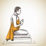 Нарисованная рука размышляющ Будда Стоковые Изображения