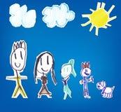 Нарисованная рука ребенк семьи Стоковые Фотографии RF