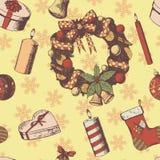 Нарисованная рука рождества или Нового Года покрасила картину вектора безшовную Эскиз атрибутов и символов, винтажный стиль, вено иллюстрация вектора