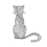 Нарисованная рука украсила кот шаржа Стоковые Изображения RF