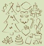 Нарисованная рука установленных элементов рождества стилизованная Стоковая Фотография