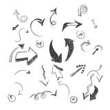 Нарисованная рука, эскиз, стрелка, собрание, вектор, иллюстрация Стоковые Изображения RF