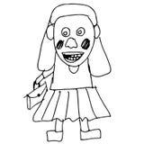 Нарисованная рука doodle девушки школы Стоковые Изображения
