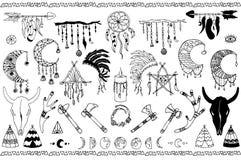 Нарисованная рука doodles комплект boho Стоковые Фотографии RF