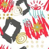 Нарисованная рука scribbles безшовная картина Стоковое Фото