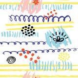 Нарисованная рука scribbles безшовная картина Стоковые Фотографии RF